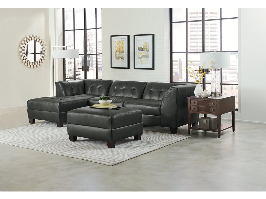 Black Leather Sectional