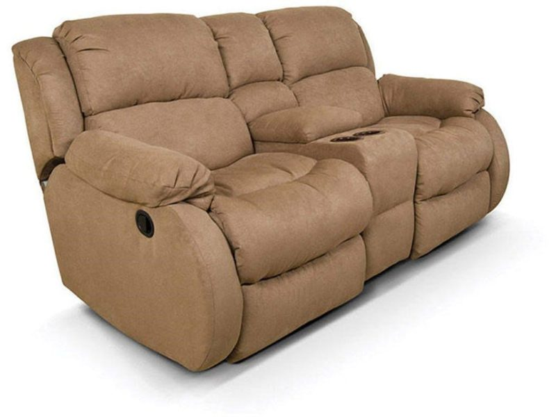 Reclining loveseat with center console by England Furniture